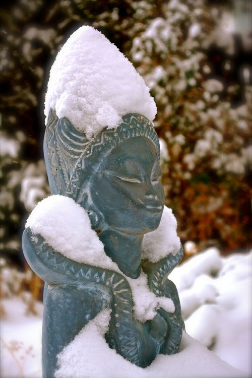 the moment is now Beauty In Nature Creativity Meditation Garden Meditation Place Sculpture Snow Statue Winter