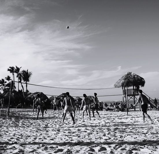 beach volleyball time Vacation Holiday Canadian Sony Fullframe Family Heaven Away Camera Reflections Contrast Photography Blackandwhite Monochrone Bnw Dominican Republic Caribbean Monochrome Sport Volleyball Spike Net Match Sky Outdoors Beach Sand Day People