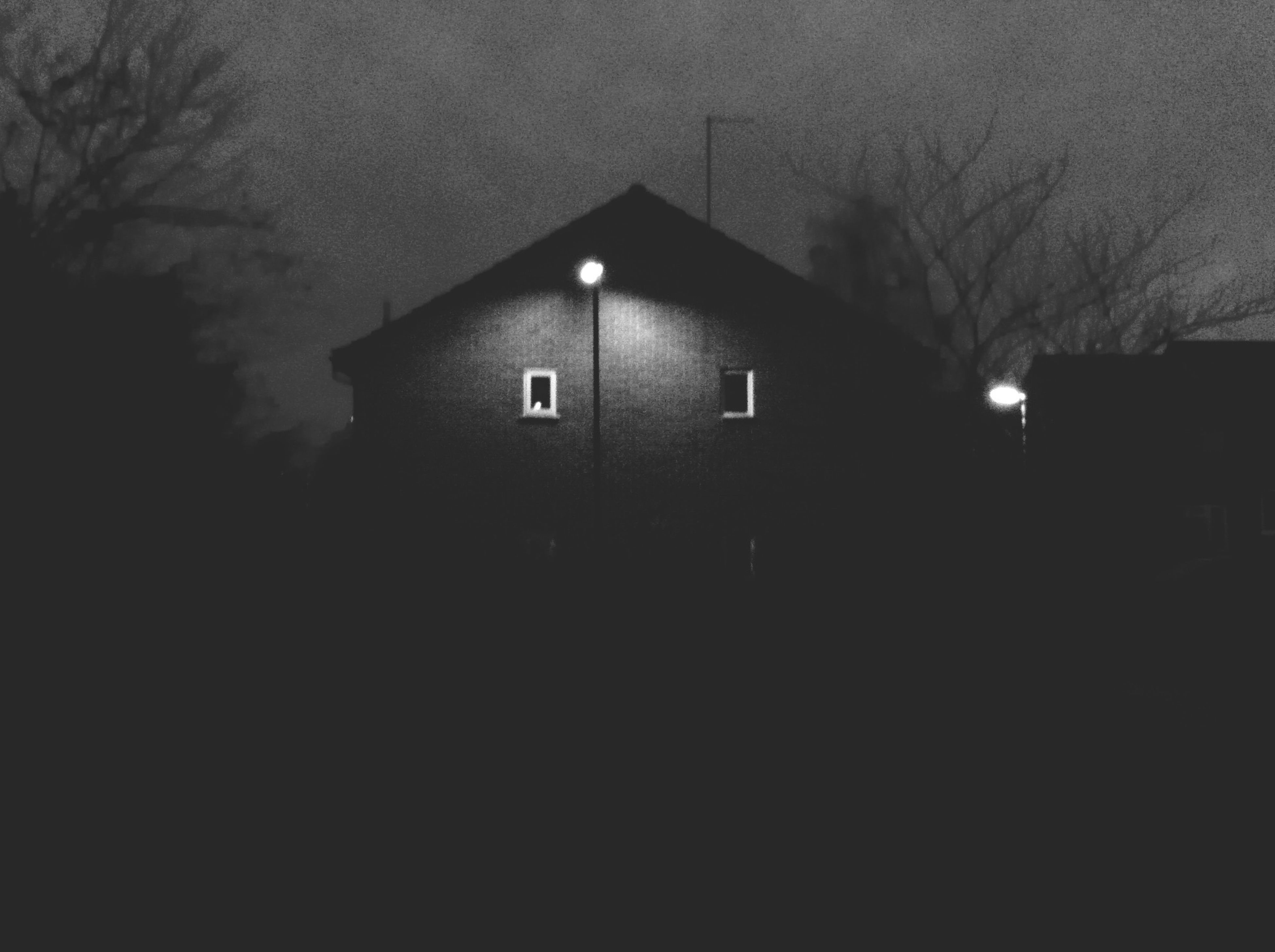 architecture, built structure, building exterior, night, illuminated, low angle view, house, dark, building, residential structure, silhouette, sky, street light, residential building, tree, lighting equipment, outdoors, no people, dusk, window