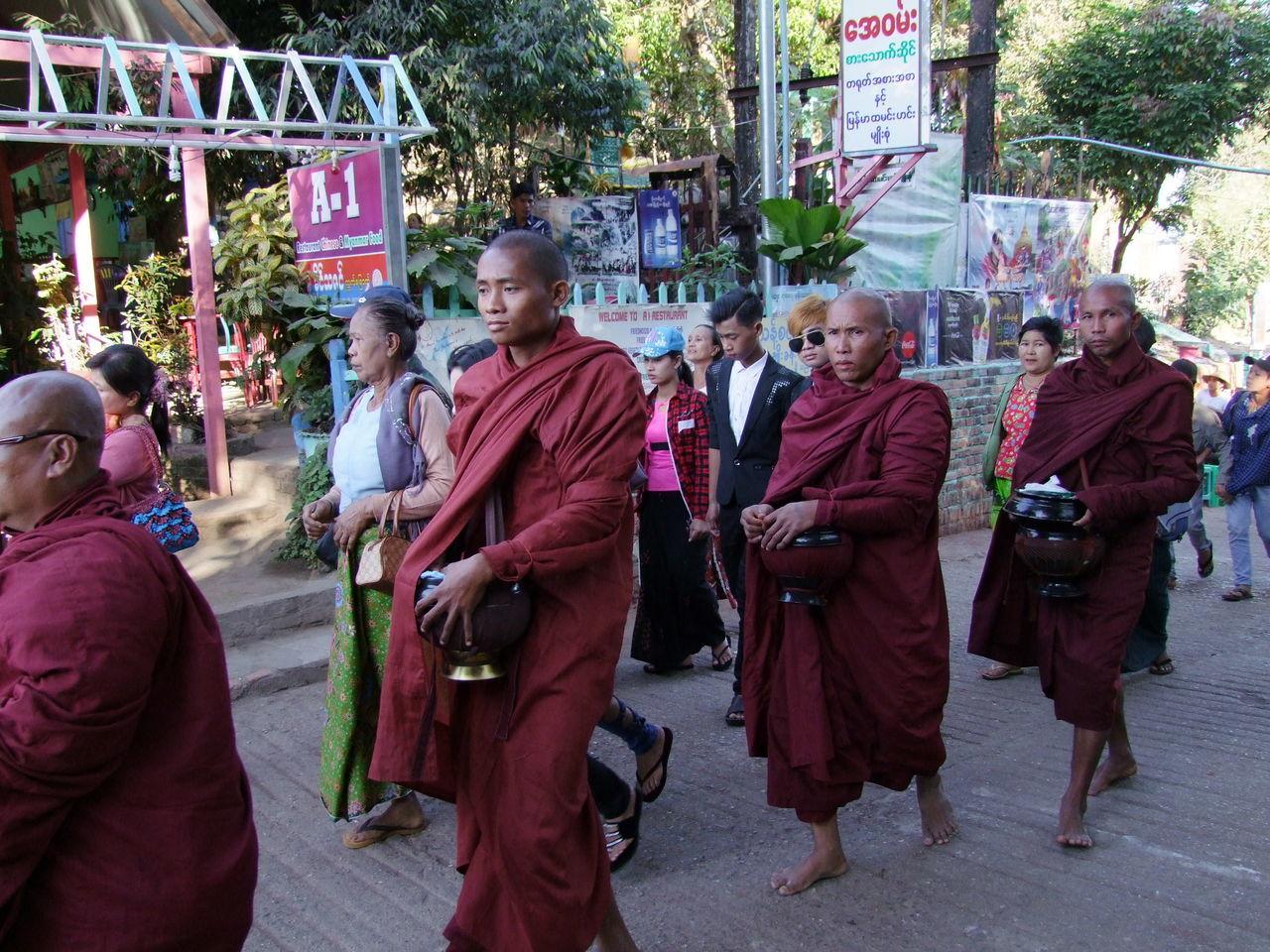 Buddhist Monks & Pilgrims at Mount Kyaiktiyo (Golden Rock) Buddhism Buddhist Culture Buddhist Monks Group Of People Kinpun Men Monks Mount Kyaiktiyo Mount Kyaiktiyo Pagoda Myanmar Sunlight And Shade Walking