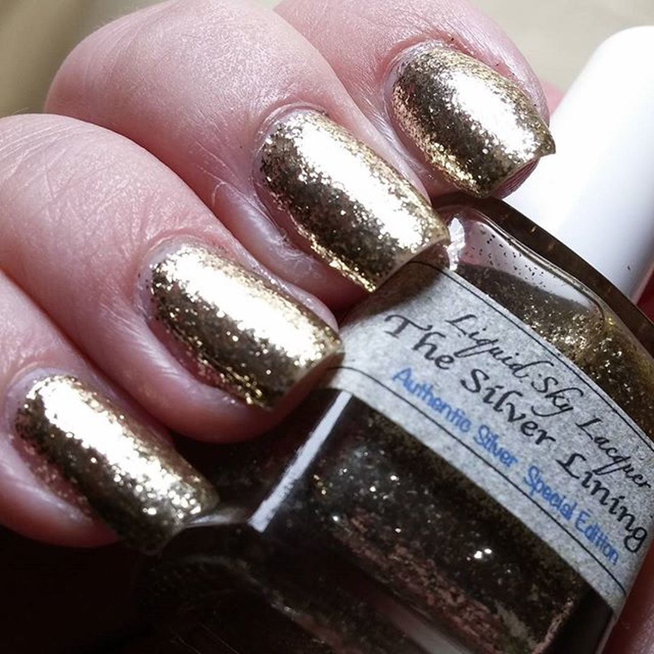 And Day 8 - Metallic 31dc2015 on time 😉 used Liquidskylacquer - the silver lining (3 coats) so sparkling 😍 Itrustindiepolish