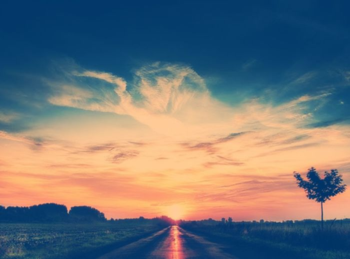 Road Sunset Vanishing Point