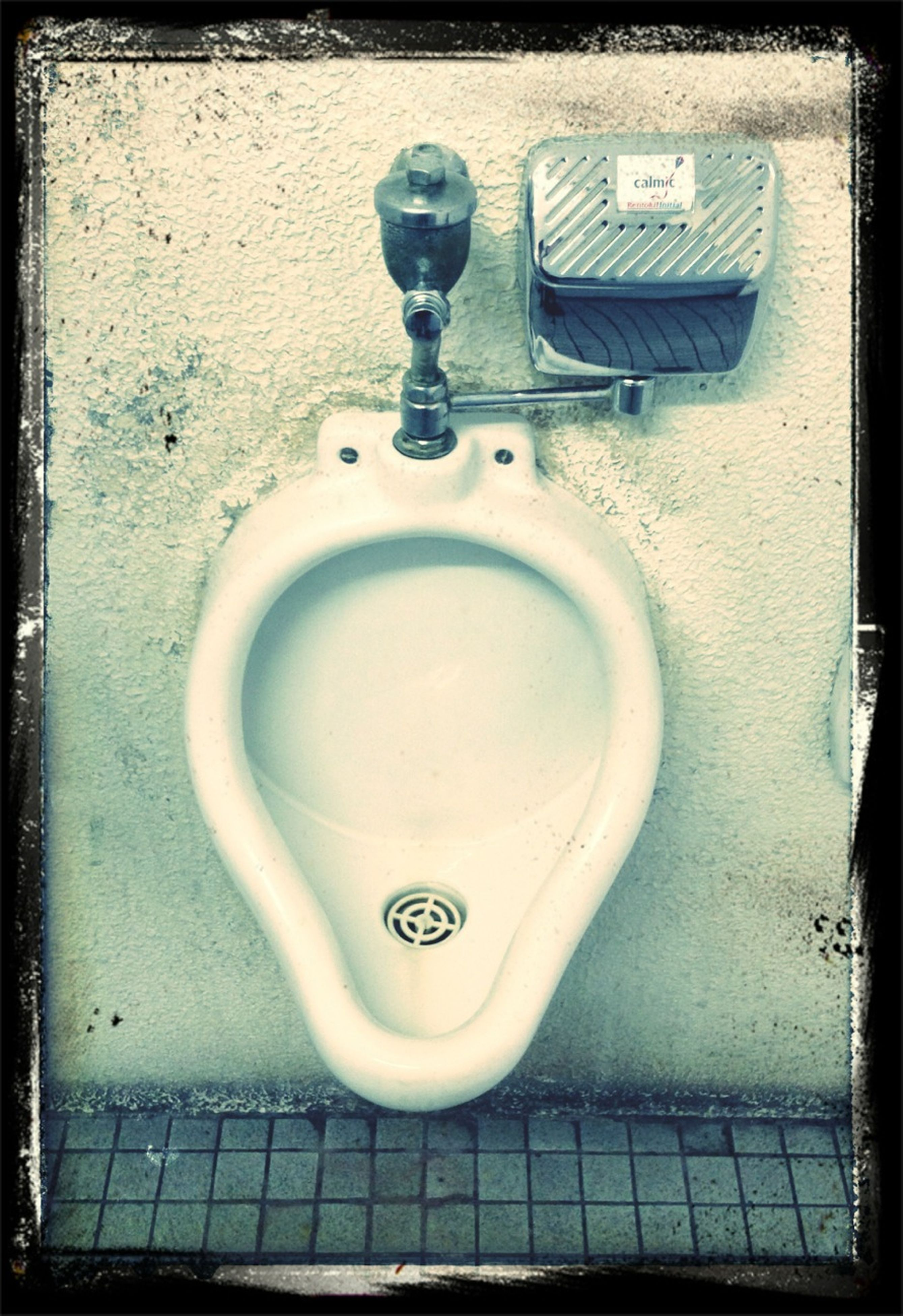 transfer print, metal, indoors, auto post production filter, bathroom, wall - building feature, metallic, high angle view, no people, technology, safety, old, still life, security, close-up, faucet, empty, protection, handle, hygiene
