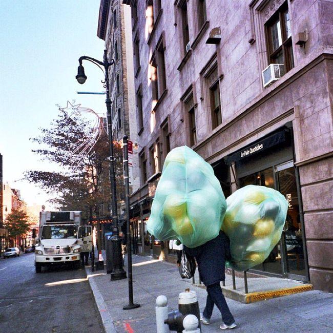 Balloons Walking Around NYC Photography I Shoot Film Greenwichvillage Weirdography