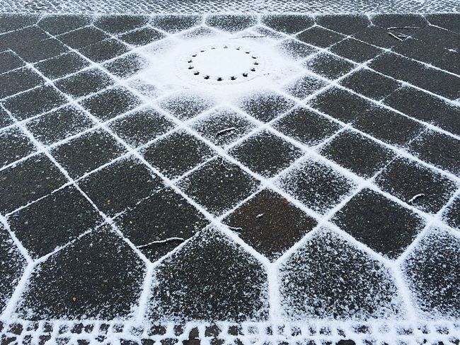 Pattern Pieces Bike Tracks Snow Snowminimals Pavement Man Hole Cover Winter