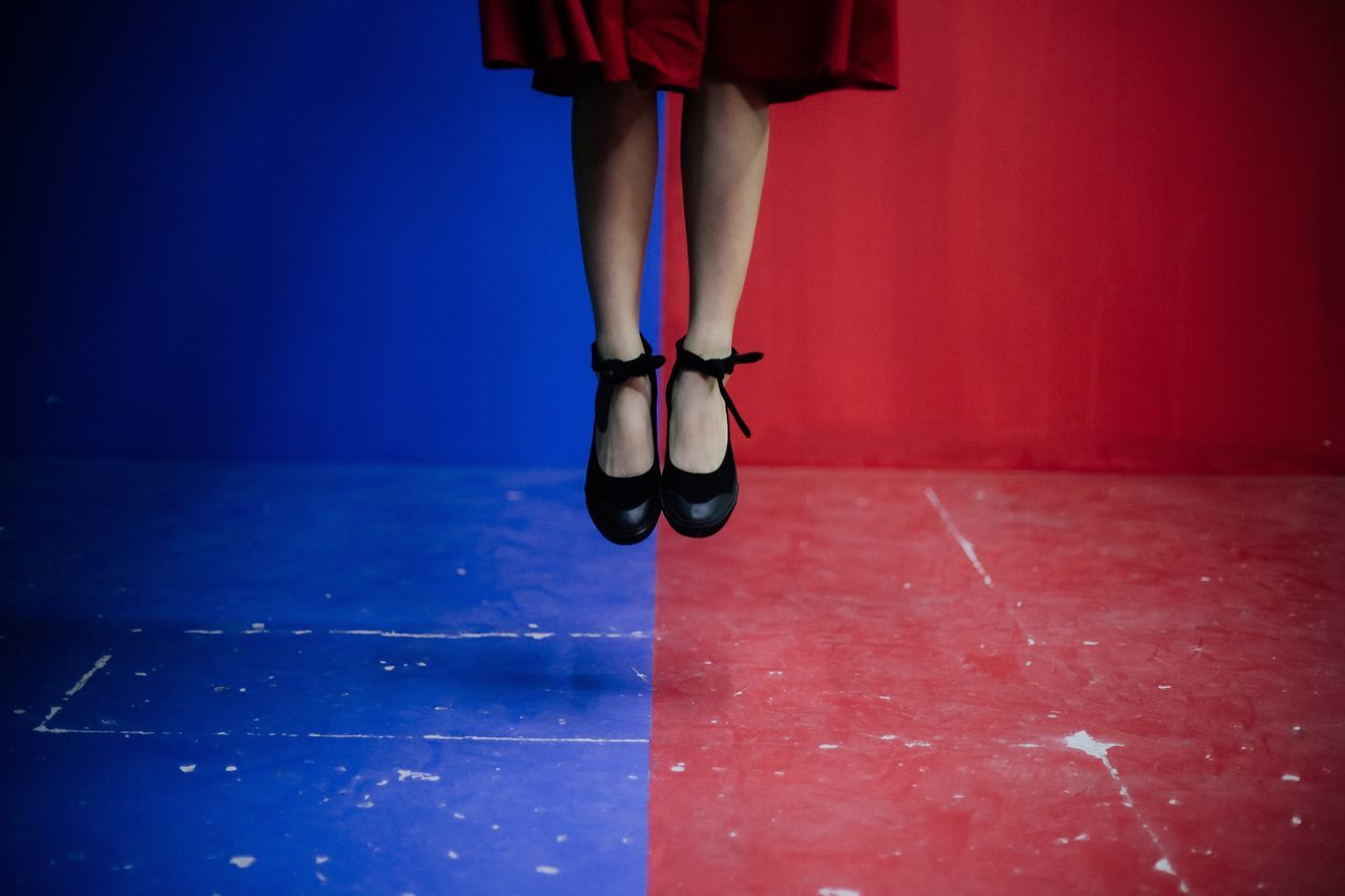 1,2,jump Jumping Colors Contrast Colorful Shoes Ballet Shoes Reddress Sommergefühle EyeEm Selects Neon Life