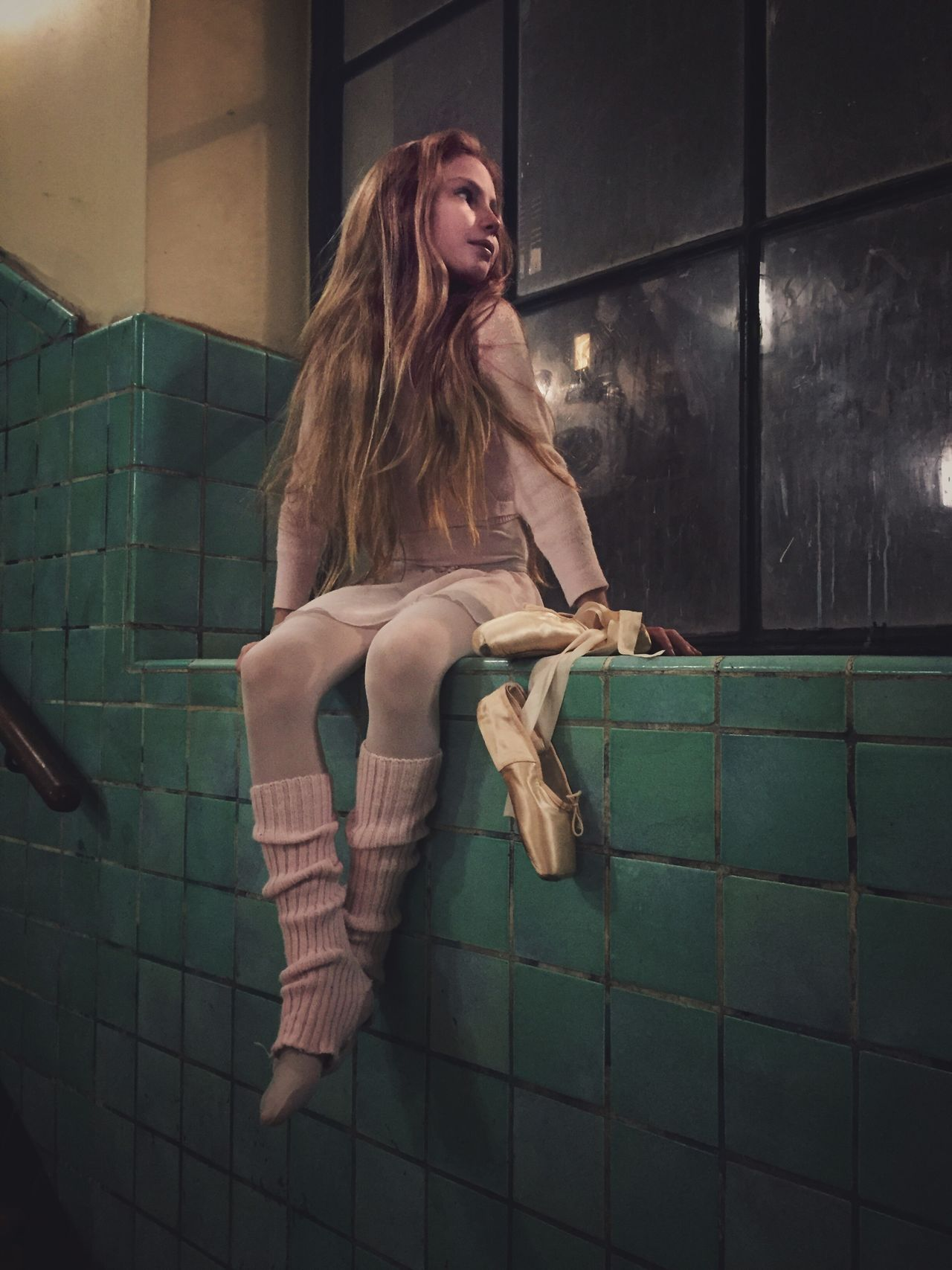 One Person Real People Indoors  Long Hair Lifestyles Full Length Tile Leisure Activity Sitting Bathroom Beauty People Ballet Dancer Ballerina Vintage Looking Away Thinking Girl Night Iphone6 Ballet Shoes light and reflection