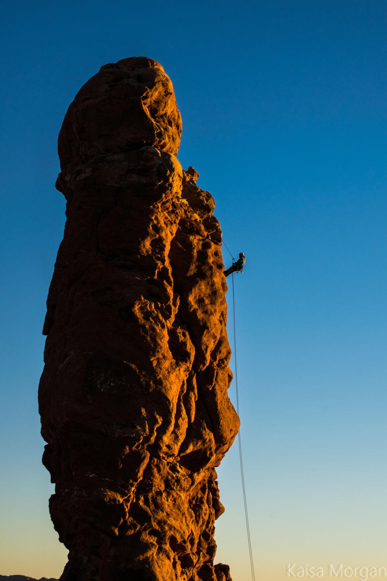 Adrenaline Junkie Adventure Arches National Park, Utah Climb Climbing Cloud - Sky Danger Extreme Sports Landscape Nature Outdoors Rock Rock Climbing RockClimbing Ropes Sculpture Sky Strength Travel