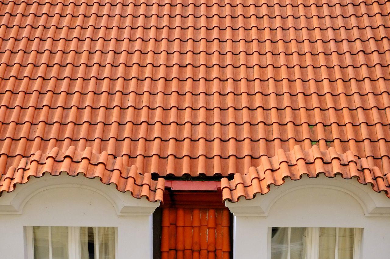 Tiles Roof Orange Lines Squiggles Windows Symmetrical Prague Geometric Shapes
