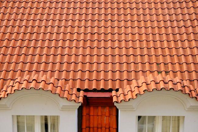 Tiles Roof Orange Lines Squiggles Windows Symmetrical Prague Geometric Shapes