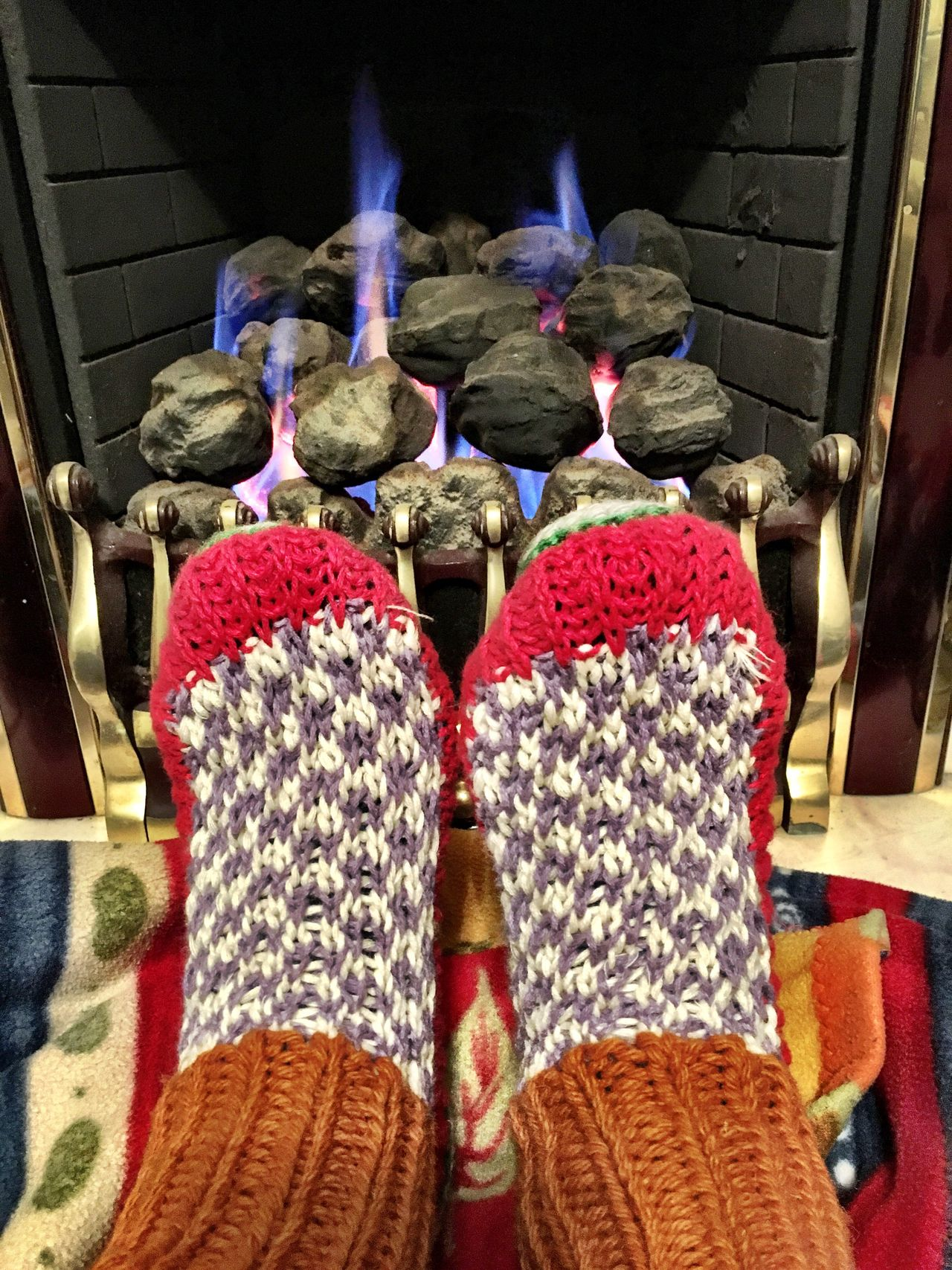 Warming By The Fire Knitted Socks Fireplace Fireplace Warmth Fire Indoors  Burning Flame Night Colour Image Human Body Part Winter Cosy
