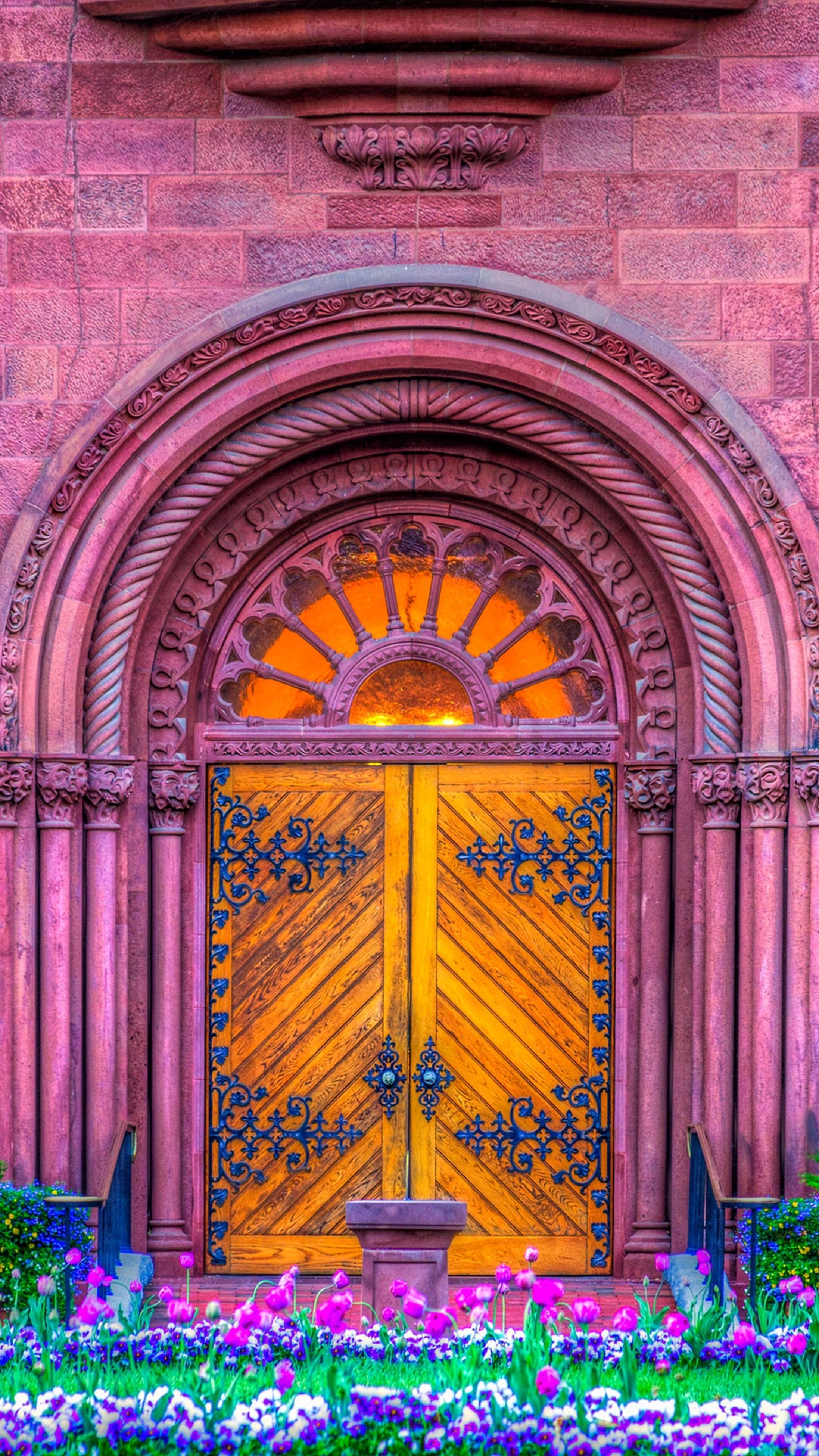 architecture, built structure, building exterior, religion, multi colored, place of worship, flower, art and craft, art, arch, spirituality, creativity, church, ornate, door, yellow, design, entrance, day