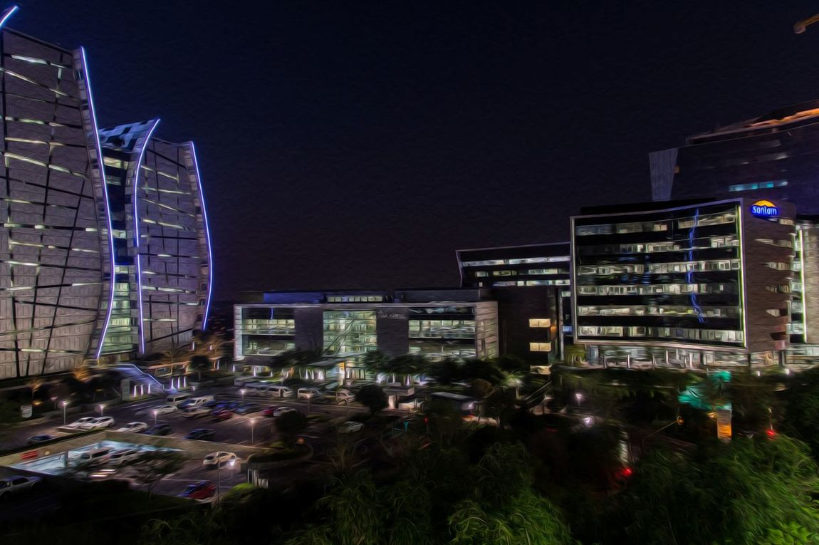 Night Architecture Building Exterior City Built Structure Clear Sky Illuminated Office Building Modern Sky Outdoors Urban Skyline After Sunset Parking Space Office Buildings Lights Norton Rose Absa Bank Of China Santam Enjoying Life Taking Photos Oilpaintingeffect Sandton South Africa