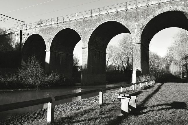 Empty Bench Empty Bench Viaduct Railway Viaduct Railway Bridge Railway Arches Railway Line By The River River Riverside Light And Shadow Black & White Black And White Black And White Photography United Kingdom Nikon D3200