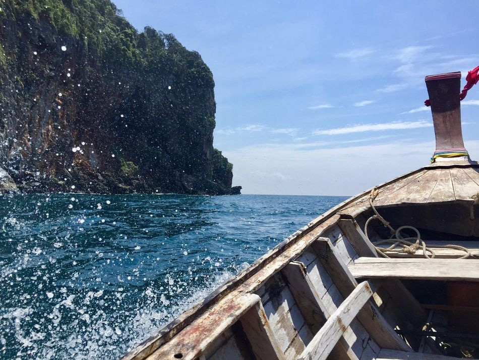 Thailand Water Boat Travel Photography Sea And Sky Horizon Over Water Koh Phi Phi Drop Drops Wood Photo Nikon Nikonphotography Photooftheday Photographer Rock Blue