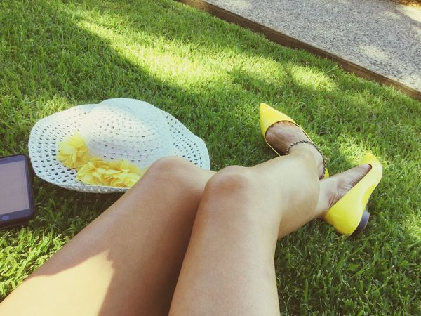 Grass Low Section Leisure Activity Real People One Person Lifestyles Human Leg Outdoors Day Green Color Women Human Body Part Yellow Shoes Yellow Shoes