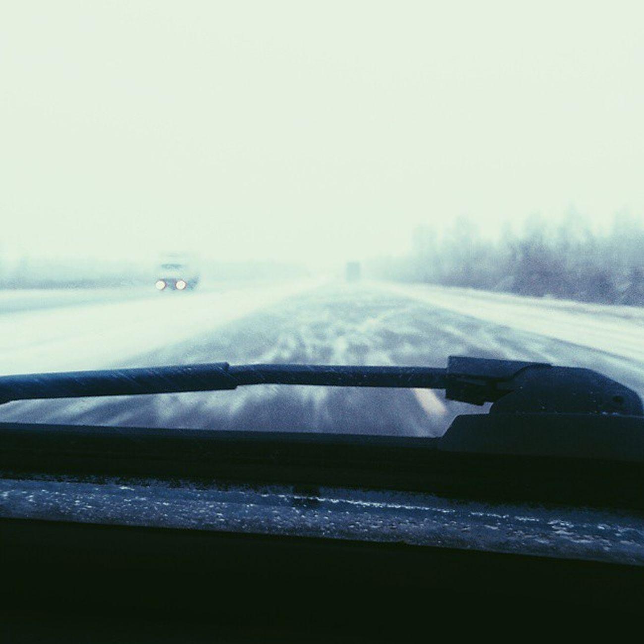 Путь,дорога,белая мгла... Snow мгла Авто трасса cars haze fog drive дорога