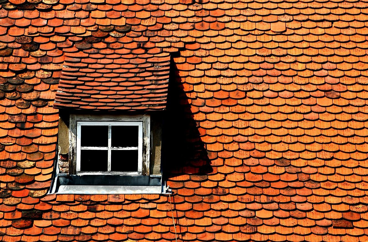 Graz Shingles Dormer Dormer Window Roof Roof Window Window Sun Orange Sunlight Built Structure Building Exterior Architecture No People Outdoors Textured  Day Light Beautifully Organized