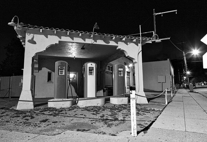 Vintage gas station in Monrovia California. Black And White Route 66 Pumps