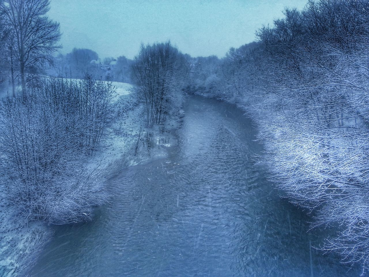 River Severn In Newtown, Winter