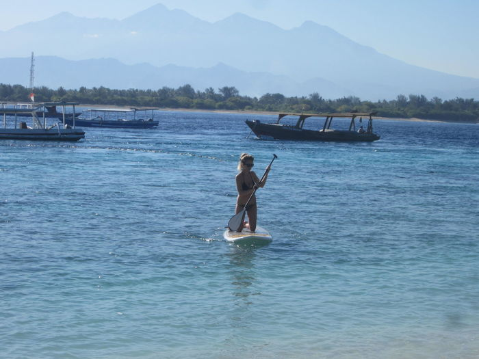 ASIA Backpacker Bali Beauty In Nature Calm Gili Trawangan One Person Outdoors Paddleboarding Stand Up Paddle Surfer Water