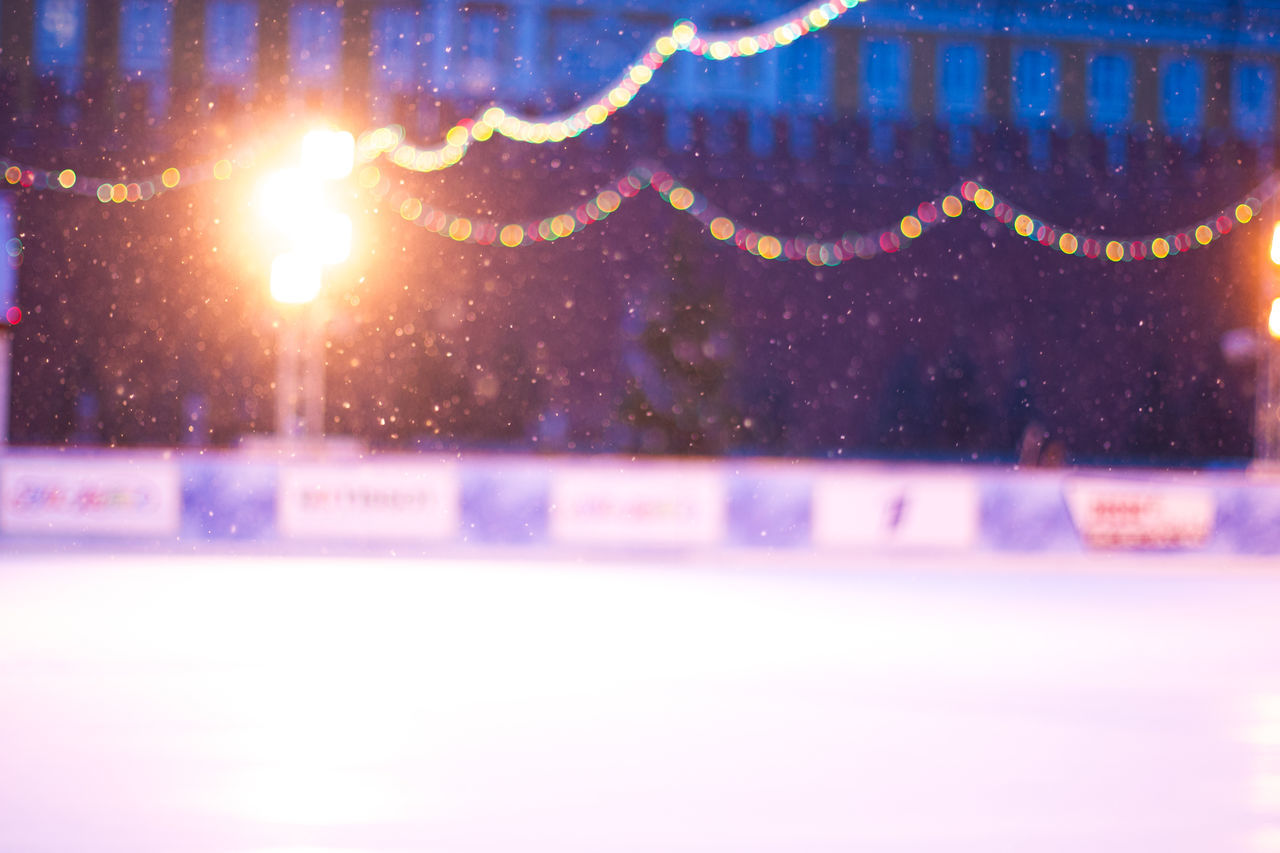 night, snow, illuminated, winter, cold temperature, snowing, no people, close-up, outdoors, nature, water, defocused, ice skate, ice rink