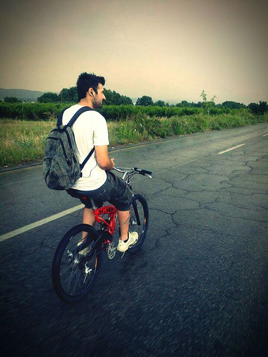 Bicycle Bike Bike Ride Rain Rainy Day On The Road Listening To Music Storm Road Greece