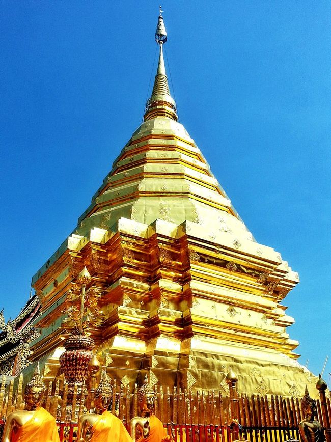 Spotted In Thailand Chaing Mai Buddhism Religious  Places Of Worship Gold Blue Sky No People Traveling Religious Place Religious Icons Wat Phrathat Doi Temple