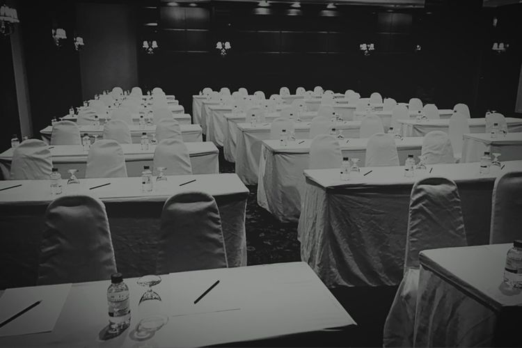 Black And White Photography Black And White Meeting Room Restaurant Pattern Backgrounds Chairs And Tables Pattern, Texture, Shape And Form