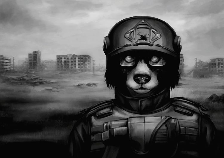 Headshot Men Portrait One Man Only Cityscape Adults Only Architecture One Person Warrior - Person Outdoors Human Body Part Adult People Day Zombie Dog Antropomorfo ArtWork Furry Cityscape