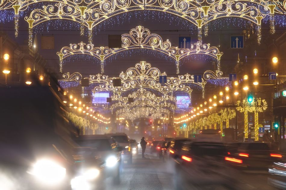 Nevsky Prospect, decorated to New Year. Blurred Motion Cars Christmas Lights City Street Decoration Garlands Long Exposure Nevsky Prospect New Year Night Night Lights Prospect Saint Petersburg Street Street Light Twilight
