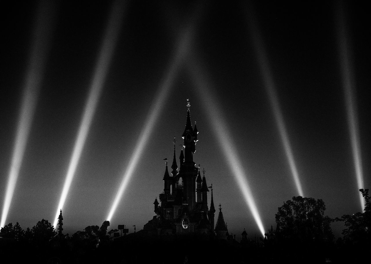 The Show Must Go On. Architecture Sky Night Built Structure Outdoors Building Exterior Silhouette Travel Destinations Illuminated Lightshow Disneyland Paris Disneyland Disney Disney Castle DisneyCastle Blackandwhite Black And White Black & White France Paris Theme Park The Show Must Go On Show Castle Architecture