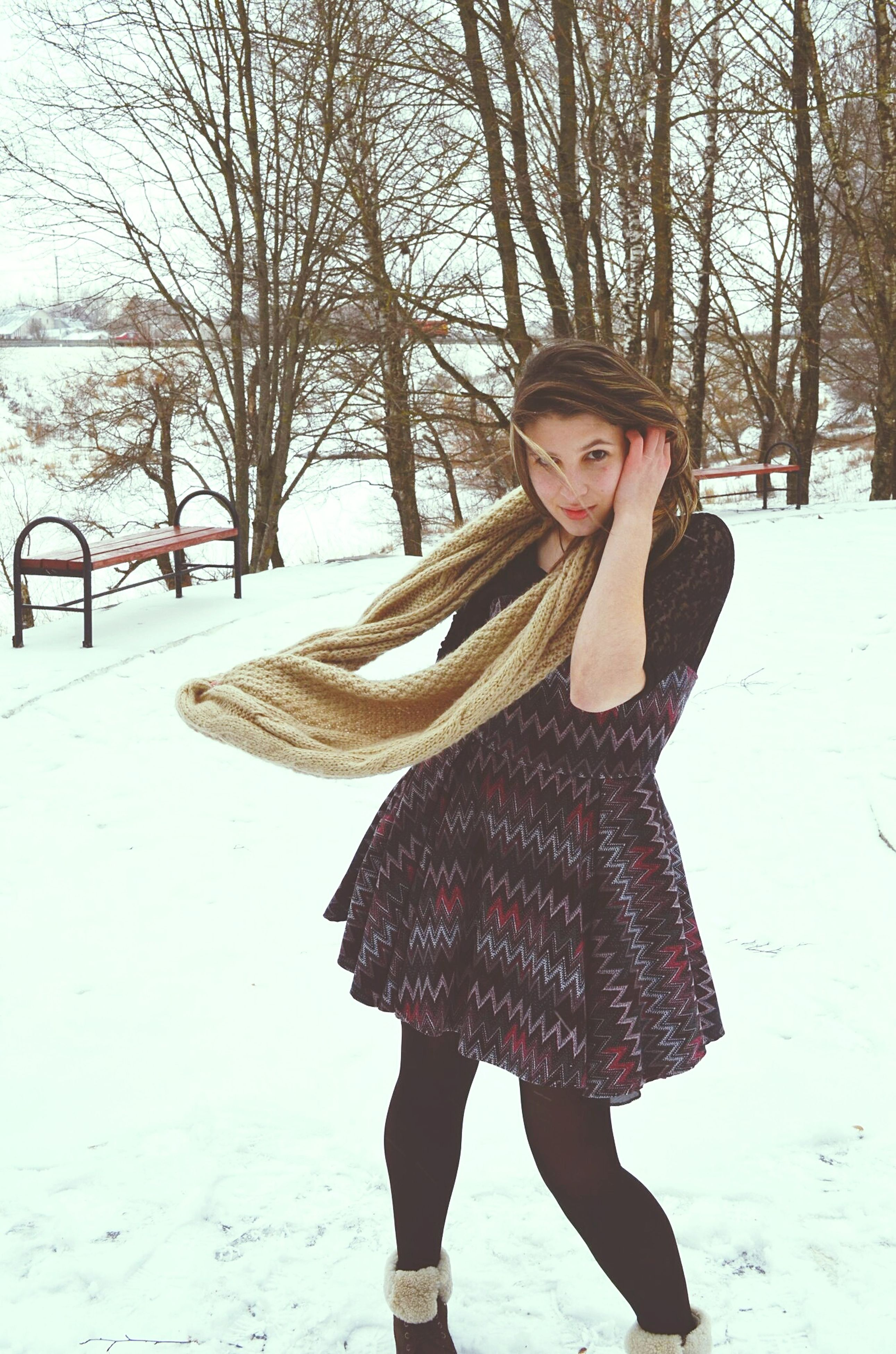 winter, lifestyles, cold temperature, young adult, snow, young women, standing, leisure activity, season, casual clothing, person, warm clothing, front view, looking at camera, full length, three quarter length, long hair, portrait