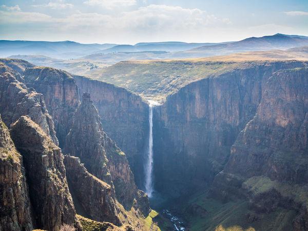 Gorge Canyon Mountains Falls Waterfalls Waterfall Maletsunyane Landscape African Africa Lesotho