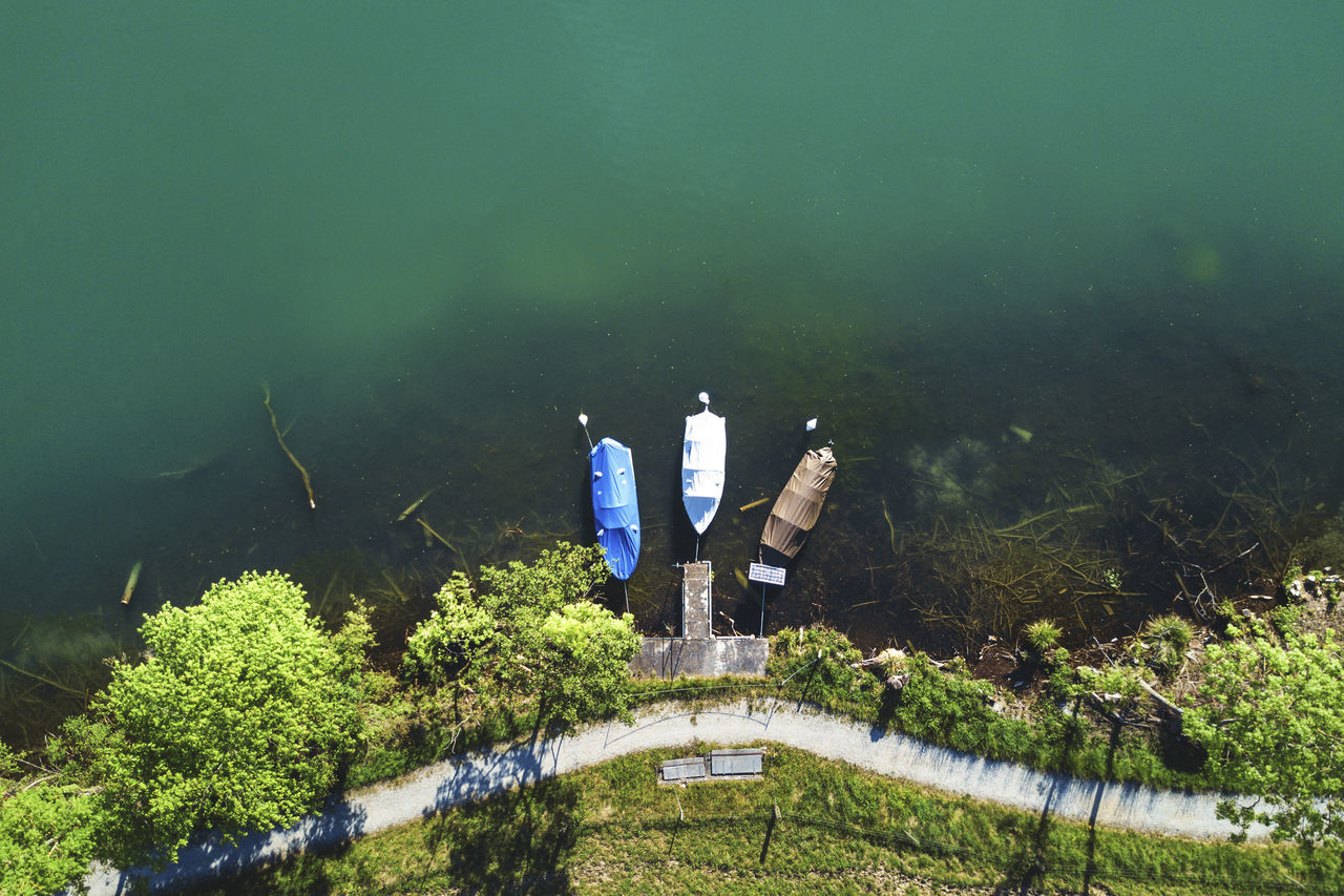 Bird's Eye View Boat Boats Dock Dockingstation Dronephotography High Angle View Lake Water Wohlensee BYOPaper!