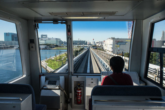 Casual Clothing Day Journey Leisure Activity Lifestyles Looking At View Mode Of Transport Odiba Relaxation Sitting Sky Trian Vehicle Interior Vehicle Seat Feel The Journey Ultimate Japan