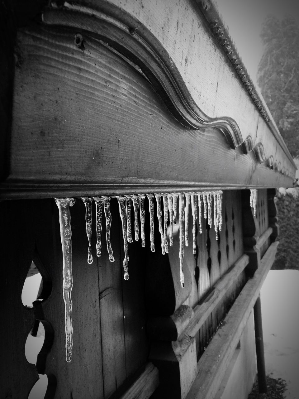 hanging, winter, cold temperature, no people, wood - material, built structure, snow, outdoors, day, roof, close-up, architecture, nature, dripping