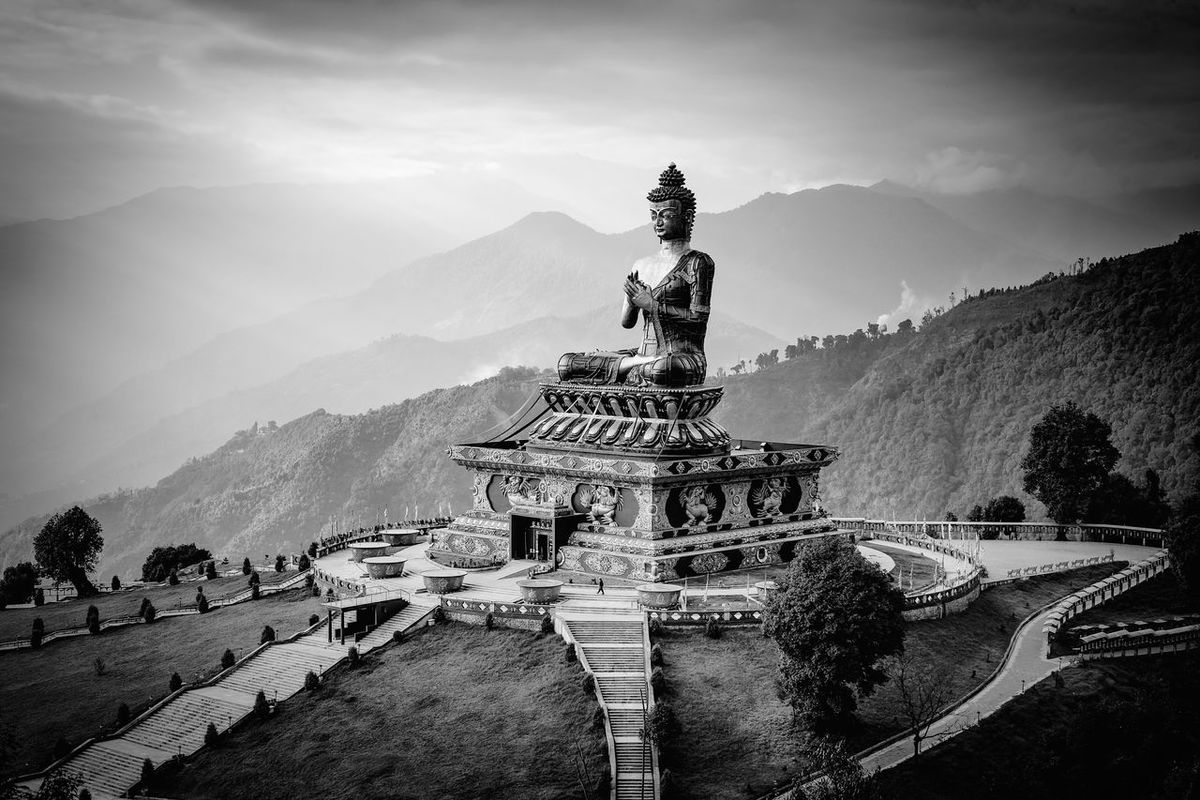 The statue of Buddha of the Buddhist Monestry of Ravangla. Sikkim India Monochrome Black & White EyeEm Best Shots - Black + White Travel Photography Canon 6D Landscapes With WhiteWall Great Outdoors With Adobe The Great Outdoors With Adobe The Great Outdoors - 2016 EyeEm Awards Fine Art Photography
