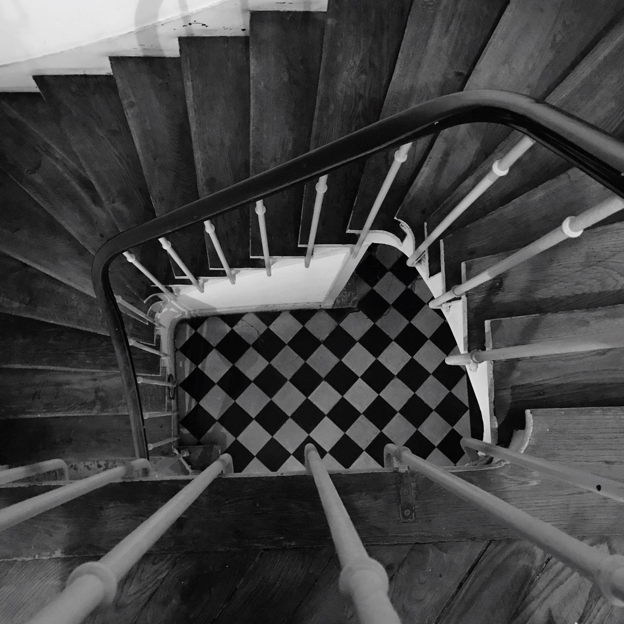Staircase in Paris - Railing Staircase Steps And Staircases Steps High Angle View Spiral Built Structure Spiral Staircase Blackandwhite Architecture Low Section Stairs Spiral Stairs Human Leg Indoors  One Person Close-up Day People Pattern Chessboard Pattern Steps Upanddown