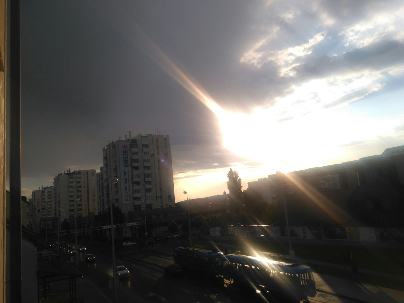 View from my homeh Zagreb Rainy Day Sunset #sun #clouds #skylovers #sky #nature #beautifulinnature #naturalbeauty #photography #landscape Enjoying The Sun View From The Balcony
