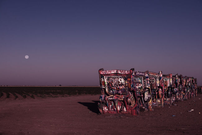 Beauty In Nature Cadillac Ranch Fine Art Photography Illuminated Moon Multi Colored Nature No People Outdoors Route 66 Scenics Tourism Tranquil Scene