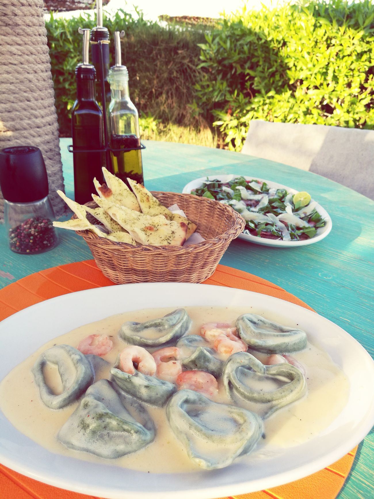 Tortellini  Shrimp Whitesaucepasta Homemadepasta Carpaccio Food Foodlove Foodphotography Dahab Dahab Red Sea RedSea Egypt Sinai