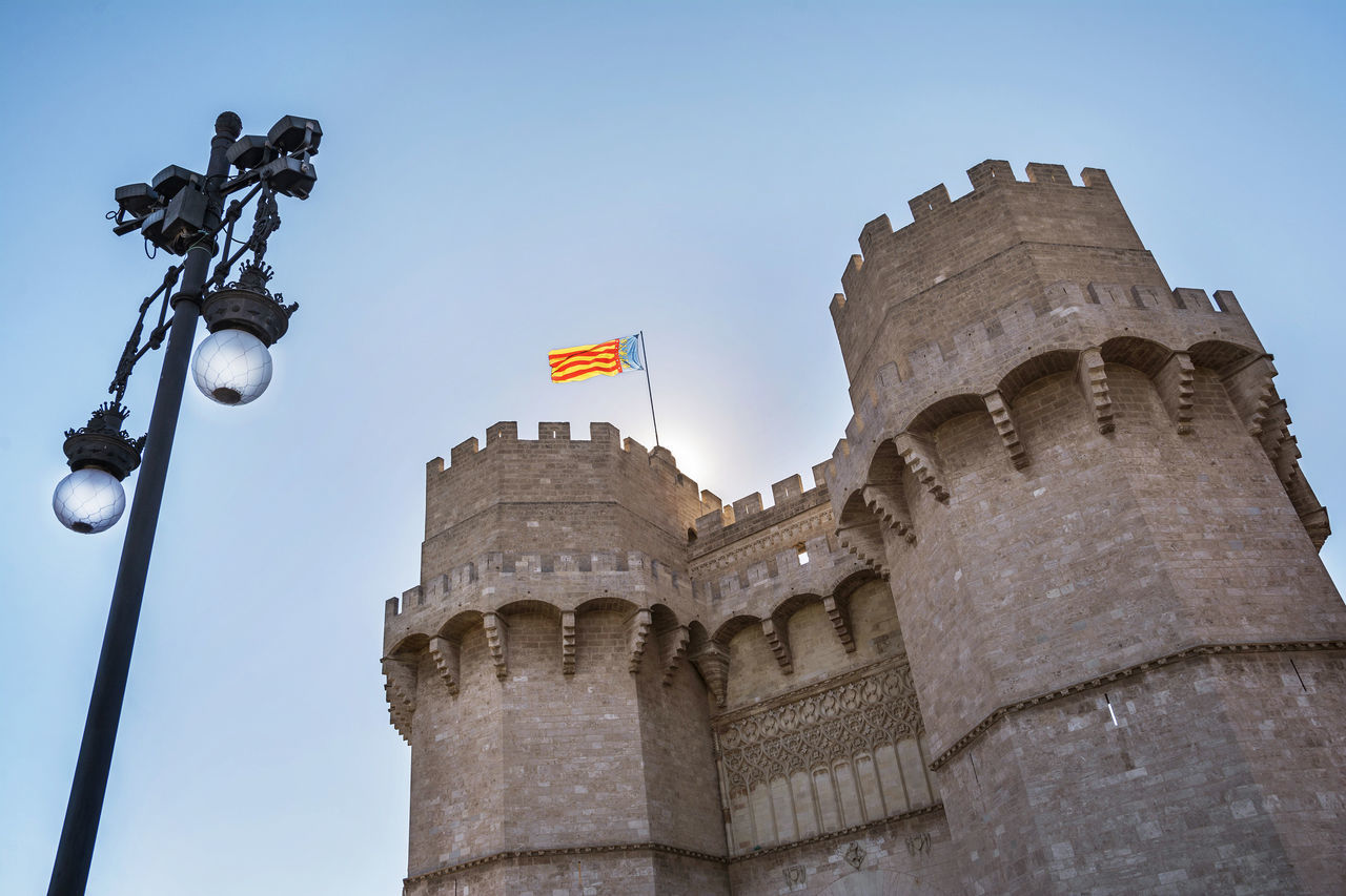 Ancient Architecture Architecture_collection Day Exterior Facade Building Façade Flag Fort Gate Landmark Medieval Monument No People Outdoor Outdoors Serrano Towers Sky Structure Tourism Tourist Attraction  Tower Travel Valencia, Spain València