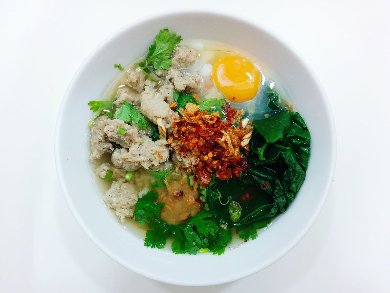 Thai Porridge Soft Boiled Rice with Raw Egg Breakfast Delicious