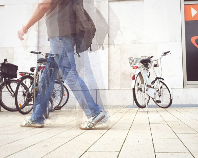 Capturing Movement Bicycle Double Exposure Walking Around