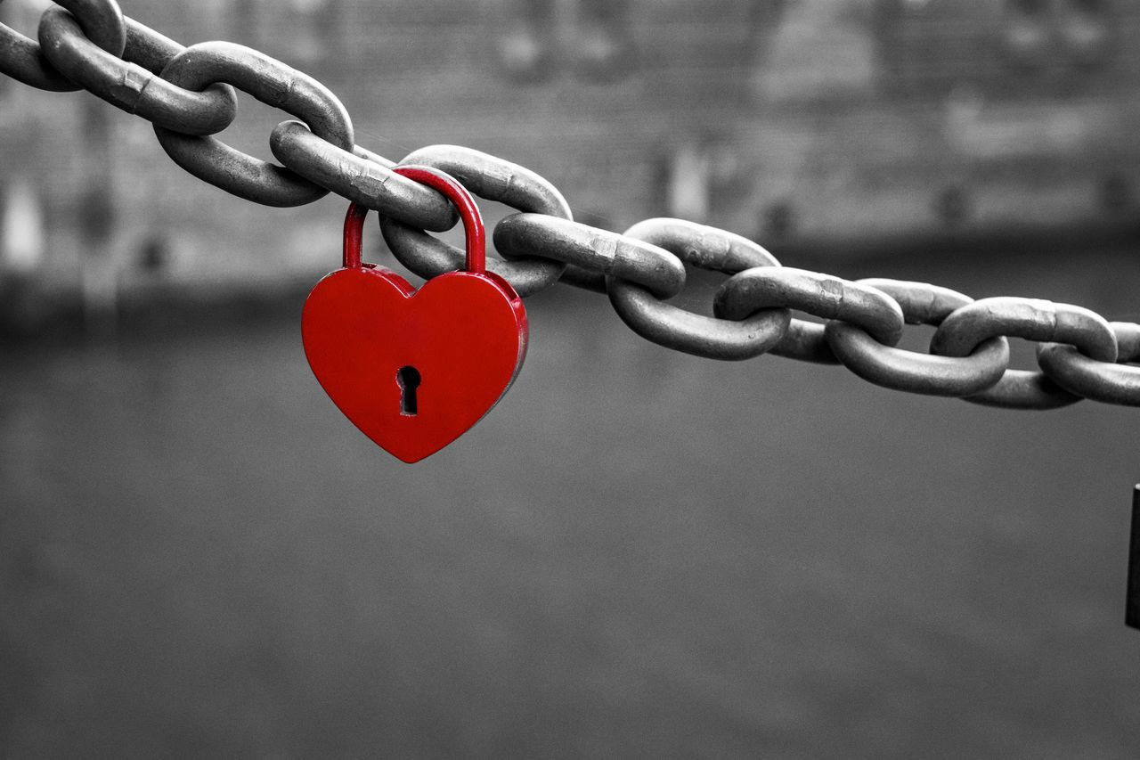 Attached Chain Close-up Day Focus On Foreground Heart Shape Lock Love Love Lock Metal No People Outdoors Padlock Railing Red Red Heart Safe Safety Strength The EyeEm Collection Selected for Premium Collection