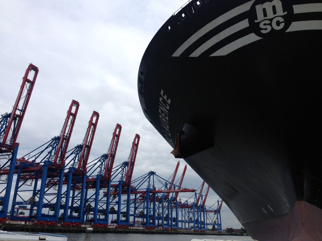 Sky Low Angle View Outdoors Text Day Ship Logistics Hamburg Harbour Harbor Freight Transportation Shipping  Architecture No People
