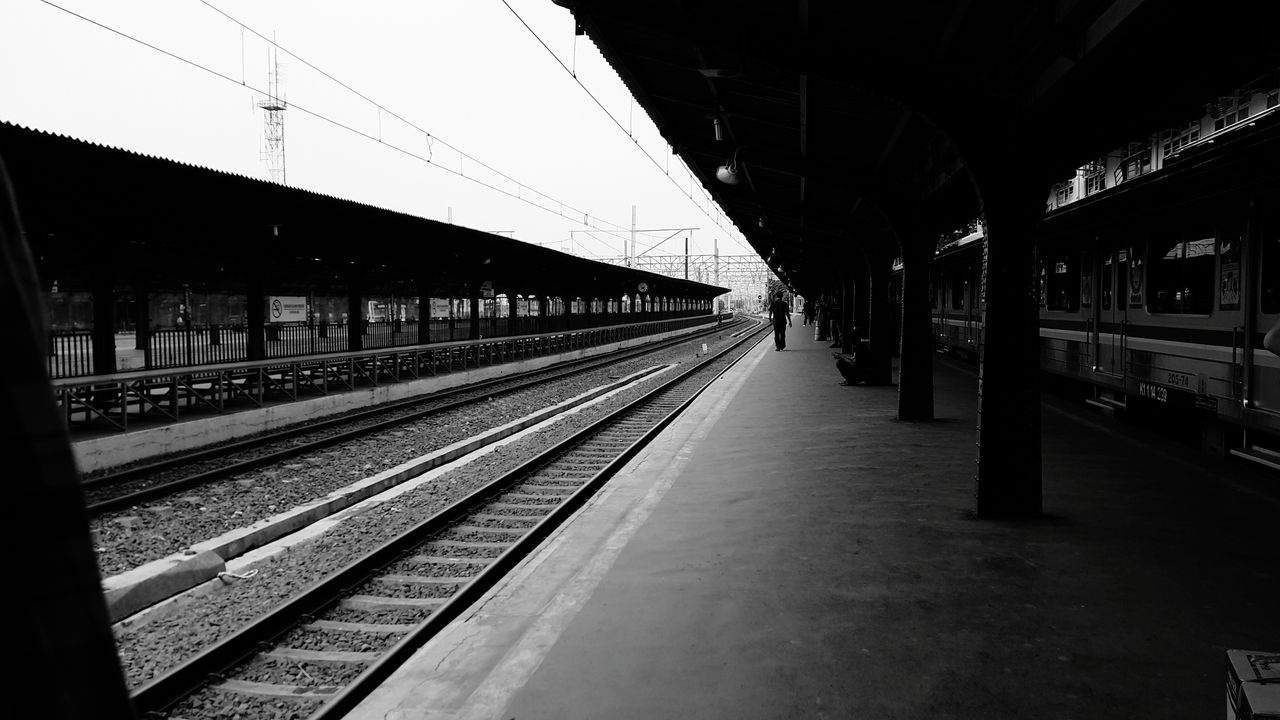 right here waiting Transportation Railroad Station Platform Rail Transportation Railroad Station Railroad Track No People Outdoors Day Sky Architecture Indonesia_photography Bnw Photography Photo Bnwmood Bnw_collection Travel Destinations Photography Bnw_society Bnw_planet Bnw Bnwphotography INDONESIA Indonesiagram