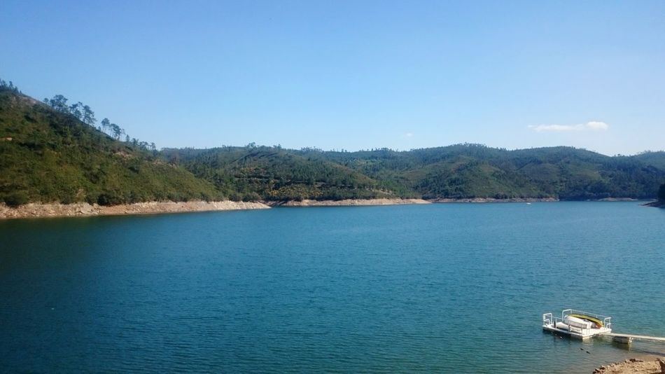 Water Blue Lake Tranquility Clear Sky Outdoors Tranquil Scene Nautical Vessel Beauty In Nature No People Nature Ferreira Do Zezere Portugal