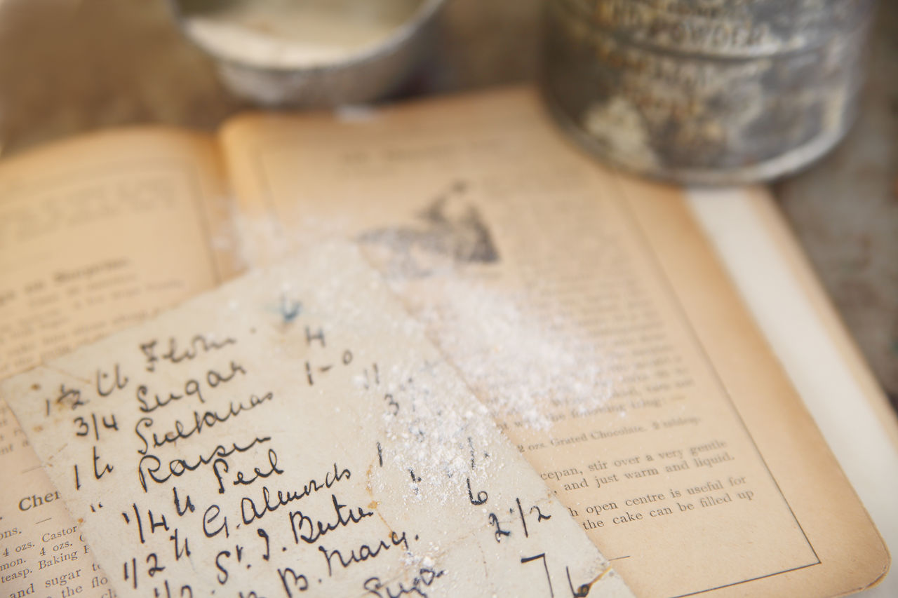 Old recipe atop a cookbook from 1894 dusted with flour 1800s Antique Cookbook Cooking Flour Handwritten Indoors  Kitchen Measuring Cup Memories Natural Light Nobody Nostalgia Old Old Recipe Old-fashioned Sifter Text Vintage Book